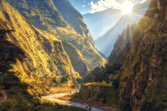 Amazing Landscape With High Himalayan Mountains, River